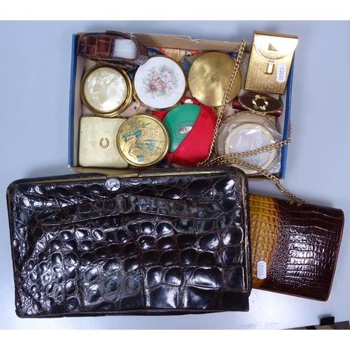 42 - Compacts, a crocodile skin bag etc...