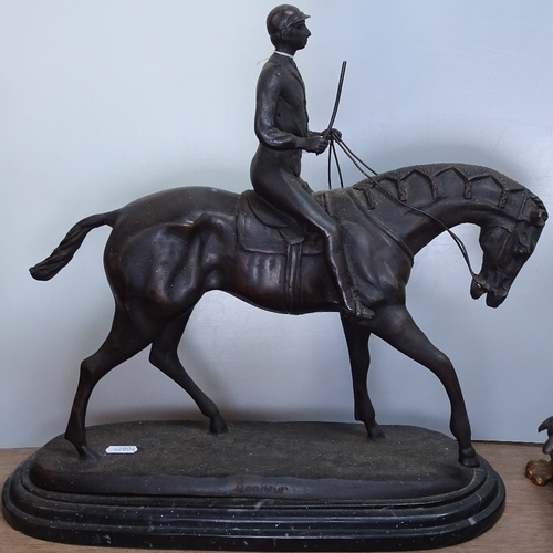 18 - A reproduction bronze racehorse and jockey, height 15