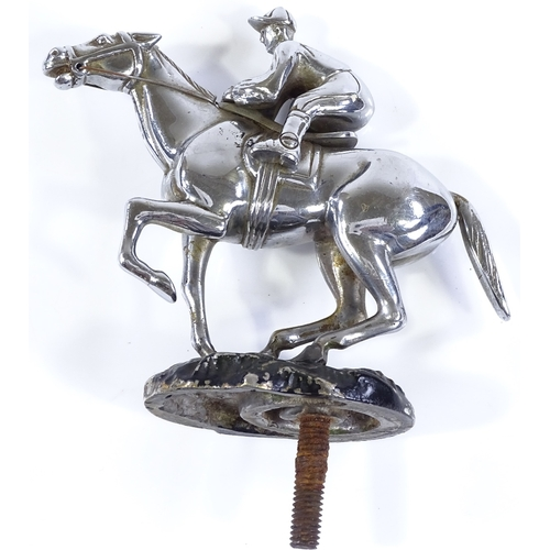 21 - A Desmo chrome plate race horse and jockey design car mascot, height excluding fitting 11cm, length ...
