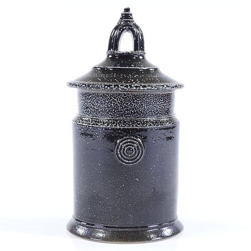 35 - Walter Keeler (British - born 1942), a salt-glaze storage jar with arched top knop, applied maker's ...