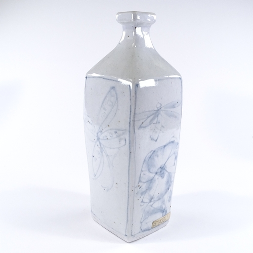 52 - Andrew Walford (South Africa - born 1942), a large white glaze square-section narrow-necked vase, wi...