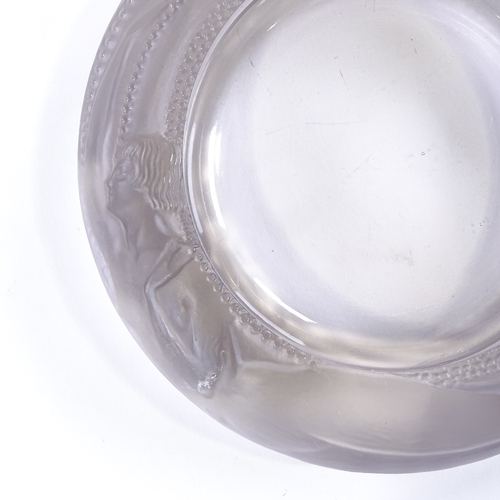 8 - A Rene Lalique Antheor clear and frosted glass cendrier, pattern no. 293, etched signature, diameter...