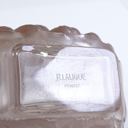 9 - A Rene Lalique pink frosted glass dahlia design perfume bottle, relief moulded design to both sides,...