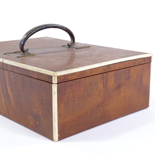 54 - A large Edwardian satinwood double-lidded desktop cigar box, with ivory edges and unmarked silver ha...
