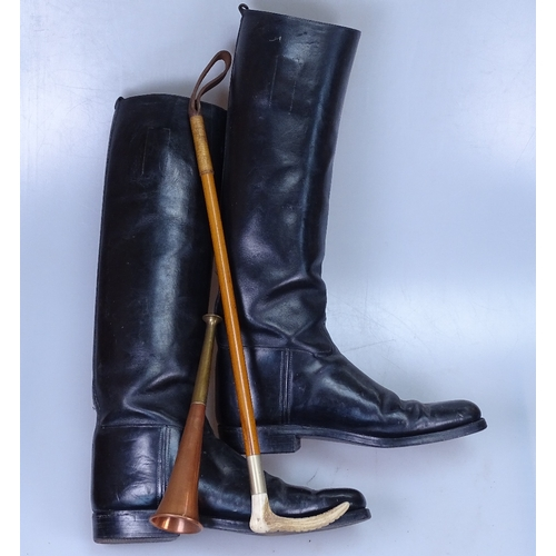 30 - A pair of Vintage leather riding boots, crop and horn...