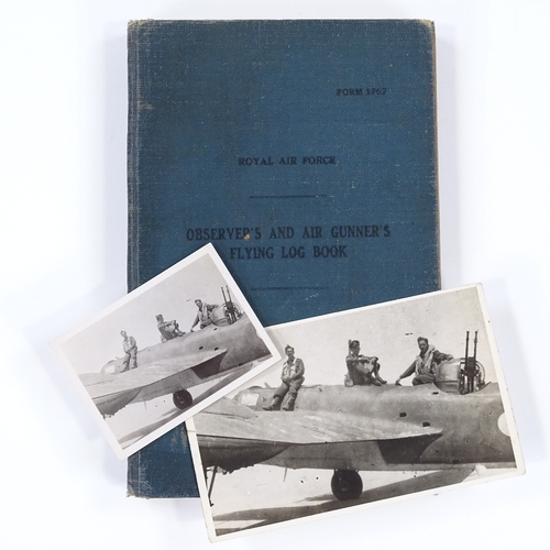 31 - A Second War Period RAF Observer's and Air Gunner's flying log book, relating to Rear Gunner Alexand...