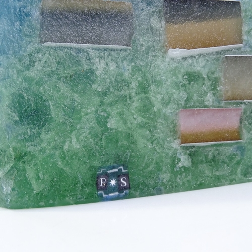 35 - Patrick Stern, blue/green Studio glass obelisk, signed with monogram, height 32cm...