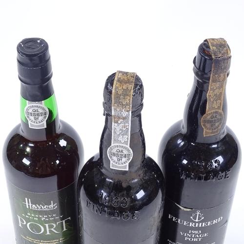 50 - 2 bottles of Feuerheerd 1983 Vintage Port, and 1 bottle of Harrods Reserve Tawny Port (3)...