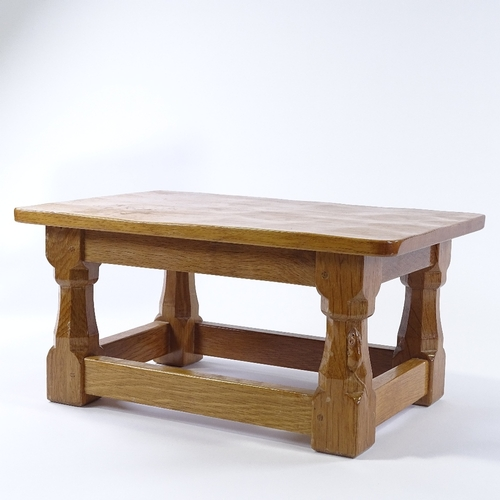 1 - Robert Thompson (Mouseman), small rectangular golden oak low table with octagonal tapered supports a...
