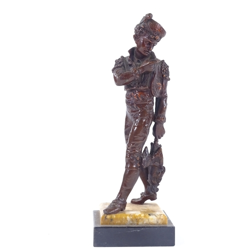 17 - A late 19th century patinated bronze sculpture of a man carrying a cockerel, unsigned, on 2-colour m...