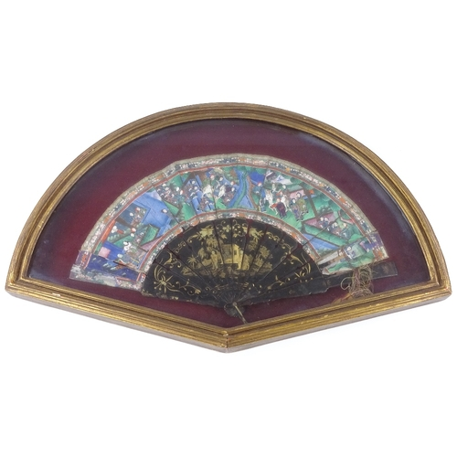 19 - A 19th century Cantonese fan, with hand painted paper screen and gilded lacquered papier mache stick...