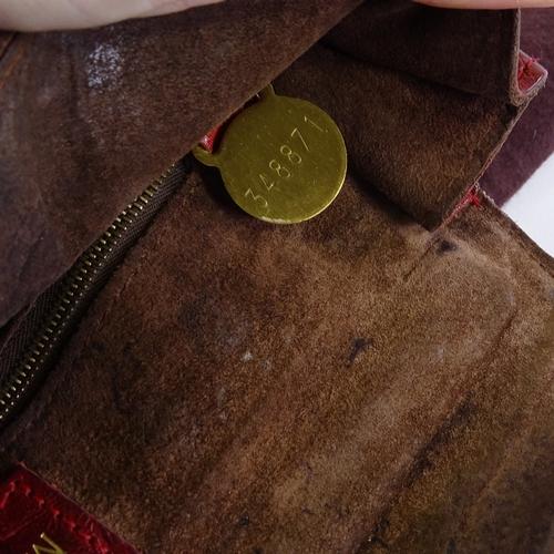 21 - A Vintage Mulberry belted Bayswater oxblood handbag, crocodile effect with padlock, 2 keys, mirror, ...