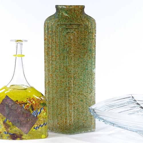 26 - 3 pieces of Studio glass, including a Kosta Boda multi-colour bottle vase, height 24cm (3)...