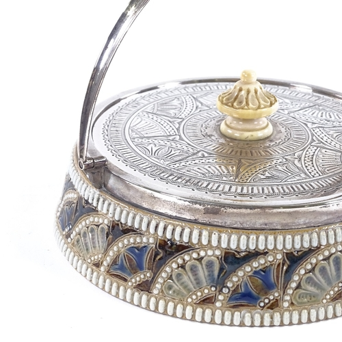 32 - A Victorian Doulton Lambeth jar with engraved silver lid and carved ivory finial, dated 1878, diamet...