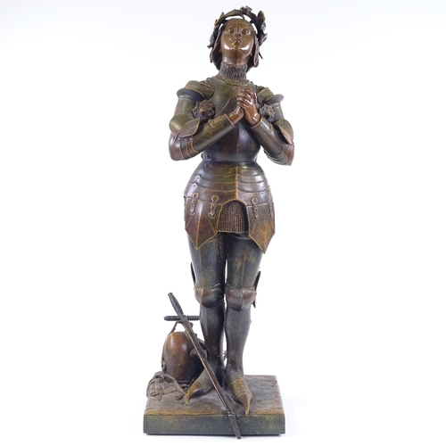 36 - Mercie, a bronze patinated spelter figure of Joan of Arc, signed on the plinth, height 60cm...