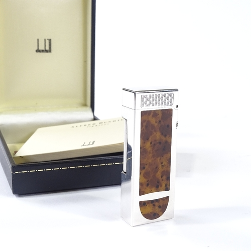 44 - Dunhill Rollagas silver plated pipe/cigar lighter with walnut-effect lacquer panels, length 6.5cm, b...