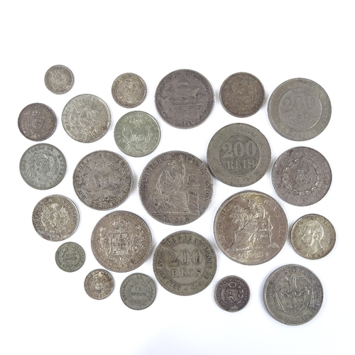 45 - A collection of South American silver coins...