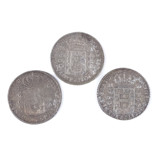 46 - 3 Brazilian 18th century silver coins...