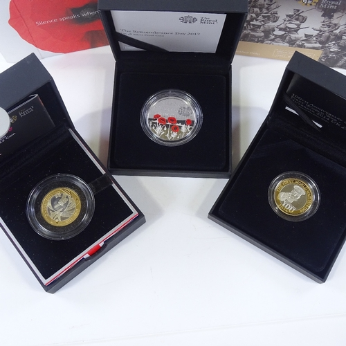 57 - 3 Royal Mint silver commemorative coins, cased...