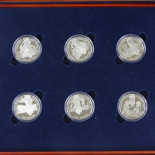 59 - Royal Mint Victoria Cross 1856 - 2006 Silver Proof Crown collection, in wooden case...