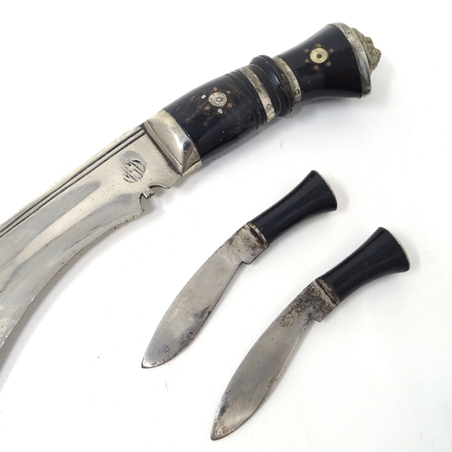 11 - Kukri with original sheath and belt mount, together with Malay hat and silver presentation cigarette...