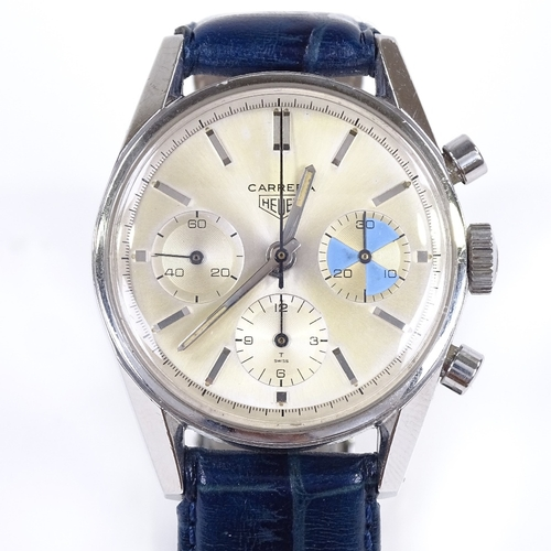 450 - HEUER - a rare Vintage stainless steel Carrera Yachting mechanical chronograph wristwatch, ref. 2447...