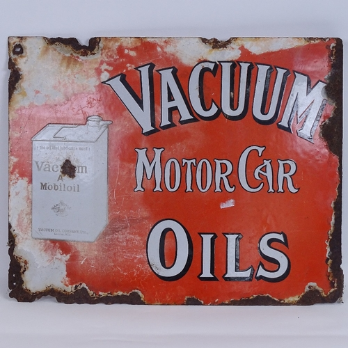 1 - A Vintage Vacuum Mobiloil Motor Car Oils pictorial red and white enamel double-sided advertising sig...