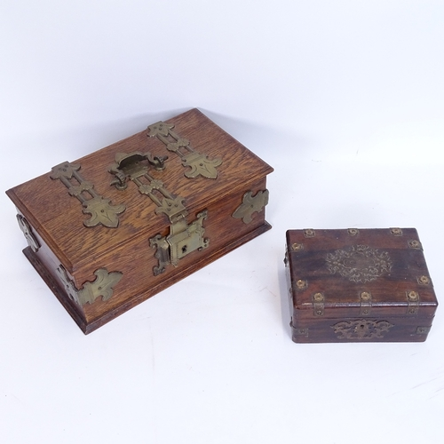 14 - A brass-bound oak jewel box, and a small veneered sewing box, largest width 29cm (2)...