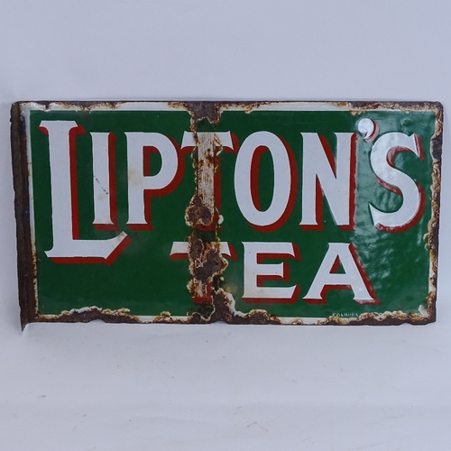 18 - A Vintage Lipton's Tea green white and red enamel double-sided advertising sign, length 46cm...