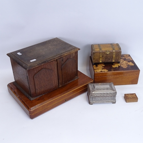 20 - Various boxes and containers, including oak table-top cabinet, silver plated jewel box, and specimen...