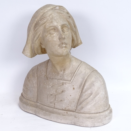 21 - A mid-century plaster sculpture, bust of a young lady, indistinctly signed on back G V Vizeienbergh?...