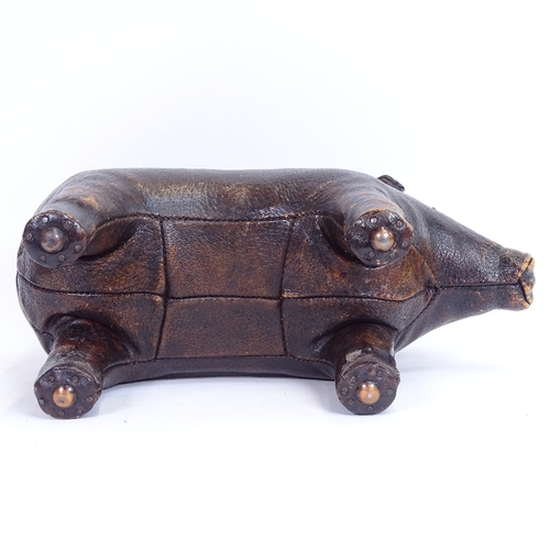 25 - A leather-covered model pig footrest purchased from Liberty's in the 1960s, length 47cm impressed  L...