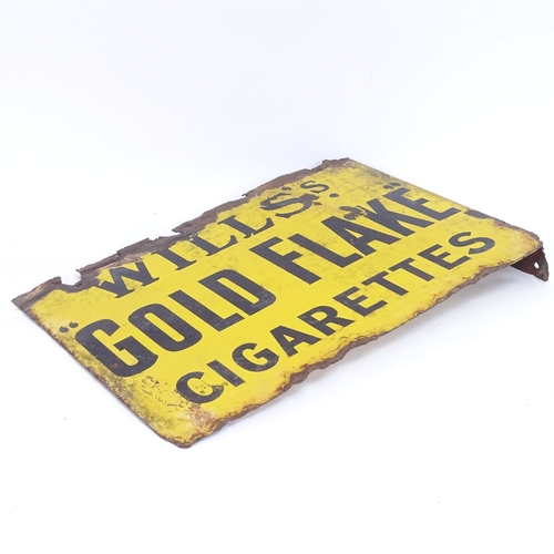 27 - A Vintage Wills's Gold Flake Cigarettes yellow and black enamel double-sided advertising sign, lengt...