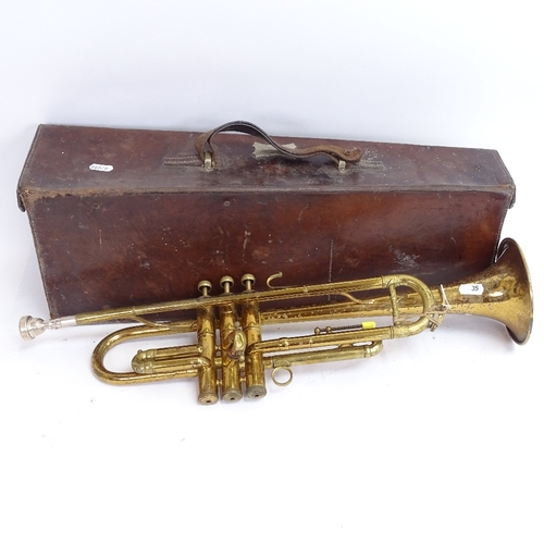 35 - An Italian Rampone & Cazzani of Milan gold lacquered 3-valve trumpet, serial no. 00168, in tapered l...