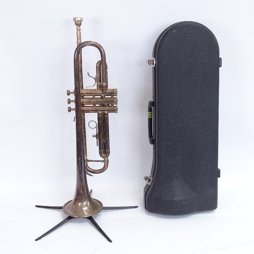 37 - A Blessing SX3 silver plated 3-valve trumpet, serial no. 241304, length 54cm, in Jupiter carrying ca...