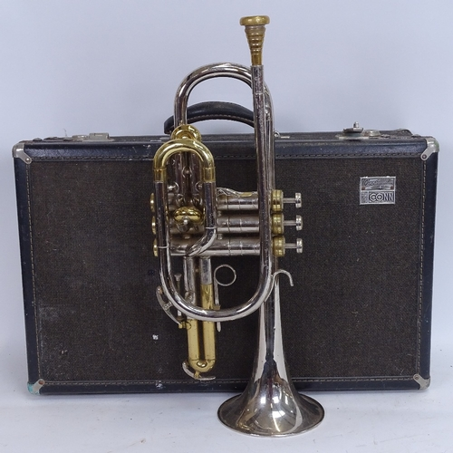 43 - A CG Conn Ltd Constellation silver plated 3-valve long cornet, serial no. N18564, length 43cm, in Co...