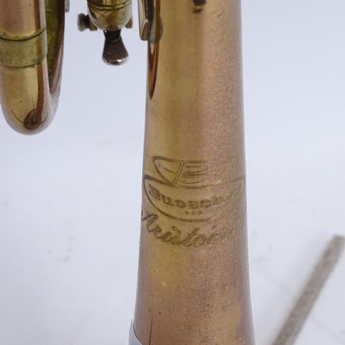 44 - A Buescher Aristocrat gold lacquered 3-valve trumpet, serial no. 623353, length 55cm, in original Bu...