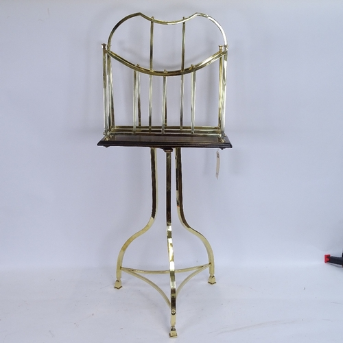 46 - A Victorian Hall BM (Birmingham) brass and oak revolving Canterbury/magazine rack, stamped 1699, ove...