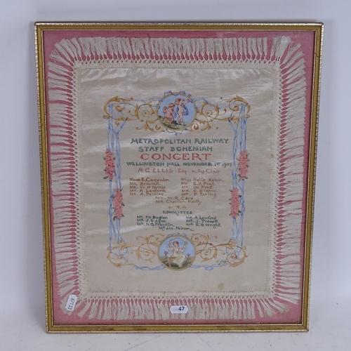 47 - A Metropolitan Railway Staff Bohemian Concert painted and gilded silk textile, Wellington Hall Novem...