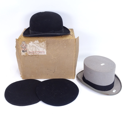 49 - A Vintage Moss Bros grey top hat, a Lincoln Bennett & Co black bowler hat, and 2 SJAB cadet berets (...