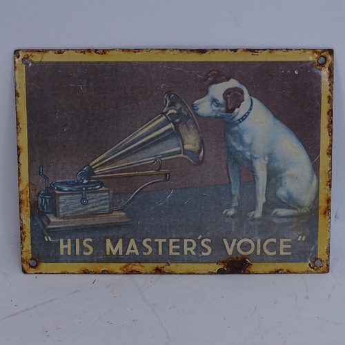 50 - A His Master's Voice (HMV) lithographed enamel pictorial advertising sign, length 27cm...