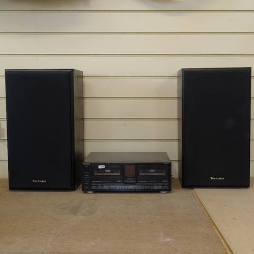 53 - A pair of Technics SB-CS9 ebonised speakers, and a Technics stereo double-cassette deck RS-X990, spe...