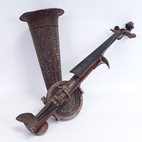 6 - An early 20th century Stroviols 4-string phono-fiddle, with aluminium horn, main body length 62m (mi...