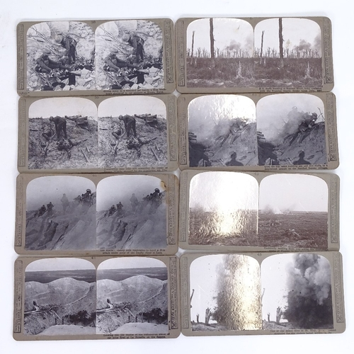 8 - A collection of First War stereoscopic viewing cards, including Hill 60, No Man's Land, and aircraft...