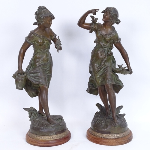 9 - After Auguste Moreau, a pair of Art Nouveau patinated spelter sculptures, Ruisseau and La Charmeuse,...