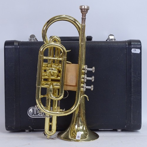 41 - A Jupiter JCR-520M gold lacquered 3-valve cornet, serial no. E50393, length 36cm, in original Jupite...