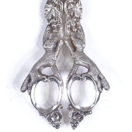 100 - A pair of silver plated grape scissors with cast fox and vine handles, length 17cm - (BBC Antiques R...