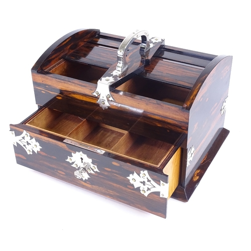 11 - A fine quality late Victorian coromandel and silver-mounted desk-top cigar box, retailed by Mappin &...