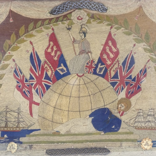 115 - A 19th century sailor's wool work embroidered picture, depicting British flags, sailing ships, and B...