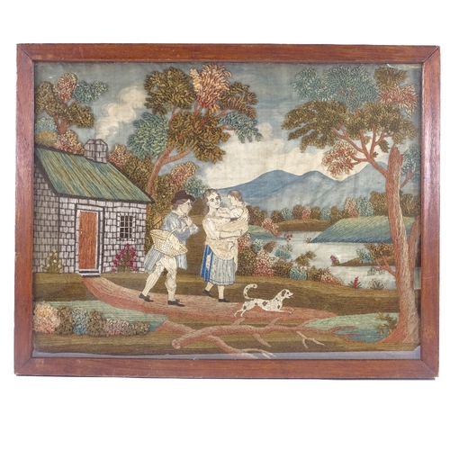 117 - A needlework and crewel work panel pole screen, late 18th/early 19th century, depicting figures outs...